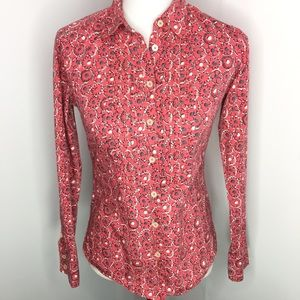 Boden Fitted Tuxedo Style Floral Print Blouse Sz 2